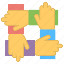 four hands holding, hands connection, hands interlocking, solidarity, symbolic teamwork icon