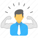 businessman biceps, challenger, champion, competitor, success concept icon