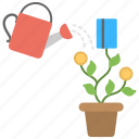 investment concept, investment growth, money growth concept, money plant watering, profit symbol icon