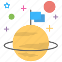 mission accomplished, mission achievement, planet flag, successful mission, victory icon