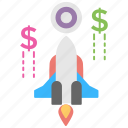 business launch, business startup, new business, rocket launch, startup business project icon