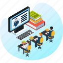 book, education, learning, library, meeting, school, study icon