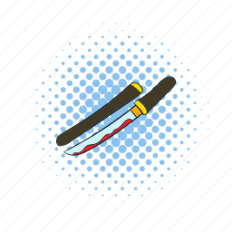 bloody, comics, funny, retro, sword, traditional, weapon icon