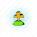 comics, creepy, cross, death, grave, gravestone, graveyard icon