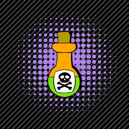 bottle, comics, cork, danger, liquid, poison, toxin icon