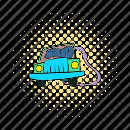 carbon, comics, exhaust, fuel, fume, suicide, traffic icon