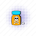 bottle, comics, design, medicine, pain, poison, treatment icon