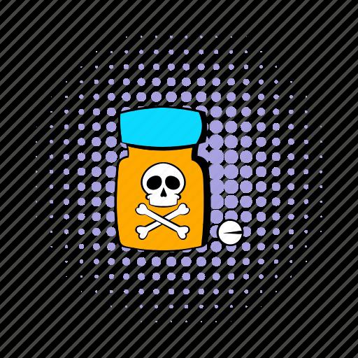 bottle, comics, design, medicine, pain, poison, treatment icon