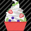 frozen, fruits, ice cream, snack, soft serve, summer, yogurt