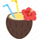 beach, coconut, juice, summer, tropical, water icon