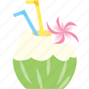 beach, coconut, fruits, juice, summer, tropical, water icon