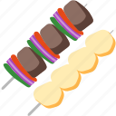 bbq, grill, meat, outdoor, skewer, summer icon