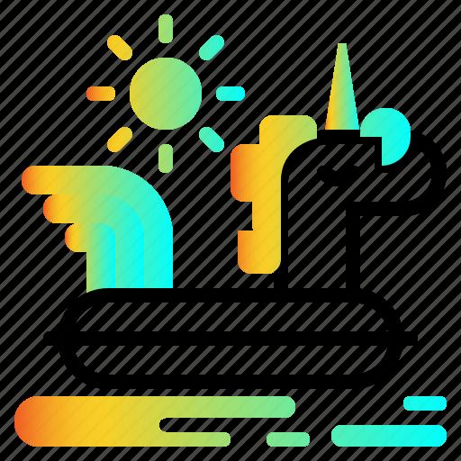float, pool, ring, summer, unicorn icon