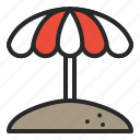 beach, beach umbrella, parasol, summer, umbrella, vacation icon