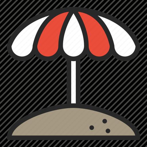 beach, beach umbrella, parasol, summer, umbrella, vacation icon