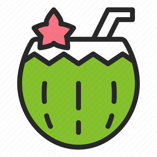 beach, coconut, coconut water, food, fruit, summer, vacation icon