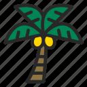 beach, coconut, palm, plant, sea, summer, tree icon
