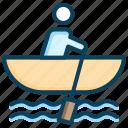 paddle, row boat, sail, ship, sport, summer, vacation icon