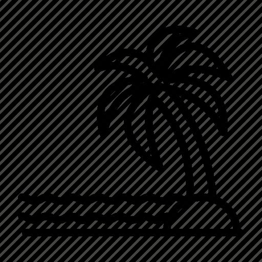 beach, island, palm, palm island, sea, summer, tree icon
