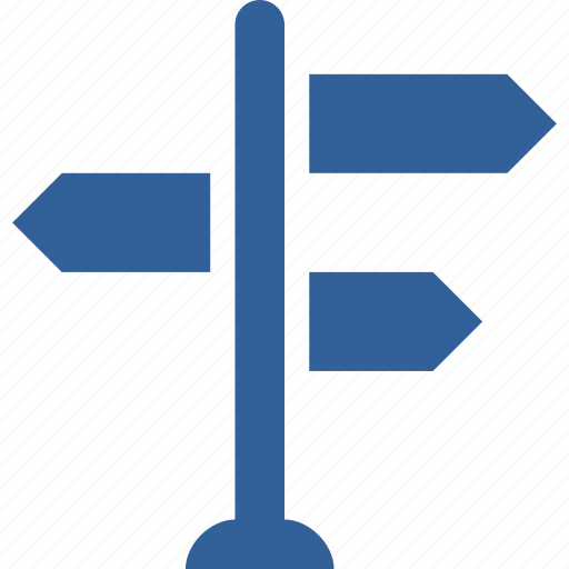 directions, guidance, navigation, path, road, sign icon