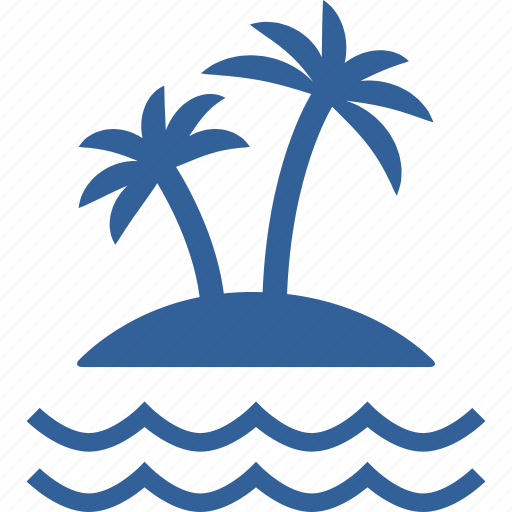 coconut, island, nature, palm, sea, summer, trees icon