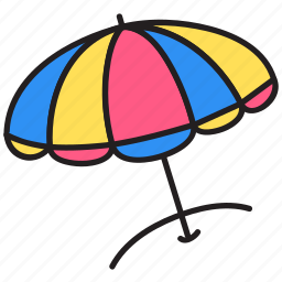 parasol, relax, sand, sea, summer icon