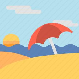 beach, beach resort, sand, sunset, travel icon