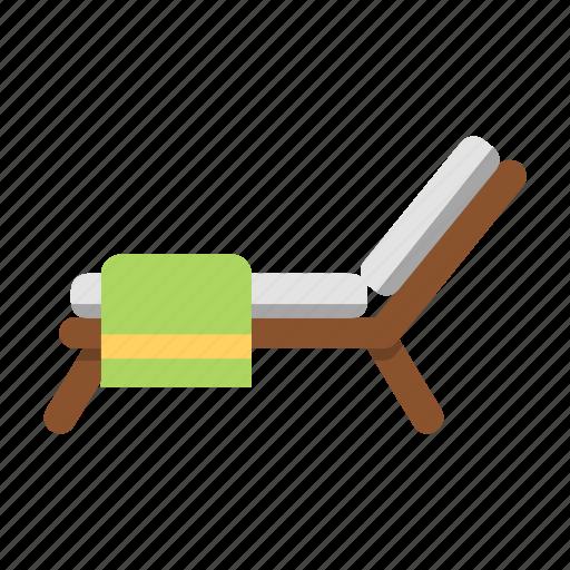 beach, beach chair, beach towel, chair, resort, towel, travel icon