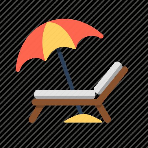 beach, beach chair, beach umbrella, chair, travel, umbrella icon