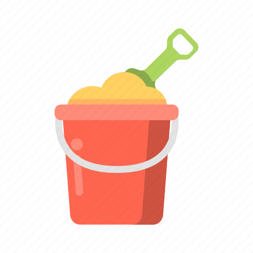 beach sand, bucket, sand, shovel, summer pail, travel icon