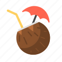 coconut, coconut drink, coconut milk, drink, juice, travel icon