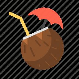 coconut, coconut drink, coconut milk, drink, juice, travel icon