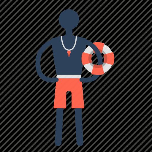female, guard, life, lifeguard, lifesaver, travel icon