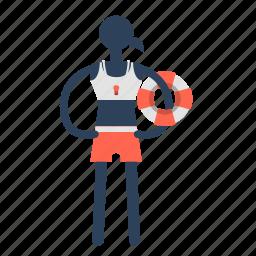 costguard, life boy, lifeguard, lifesaver, male, travel icon