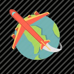 air travel, airplane, flight, globeplane, plane, travel icon