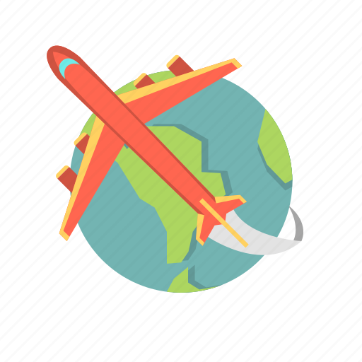 air travel, airplane, flight, globeplane, plane, travel icon
