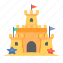 beach castle, castle, sand, sandcastle, travel icon