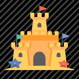 beach castle, castle, sand, sandcastle, travel icon