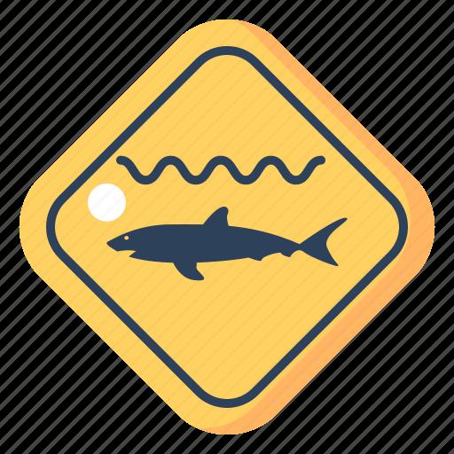 danger sign, shark, shark warning sign, travel, warning, warning sign icon