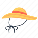beach hat, hat, summer hat, sunhat, travel, women hat icon
