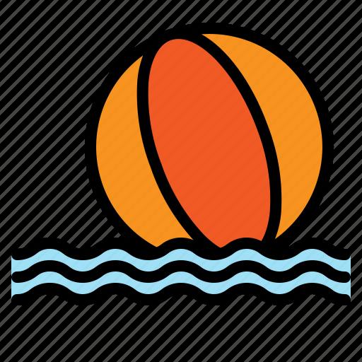 ball, beach, recreation, sea, summer, vacation, wave icon