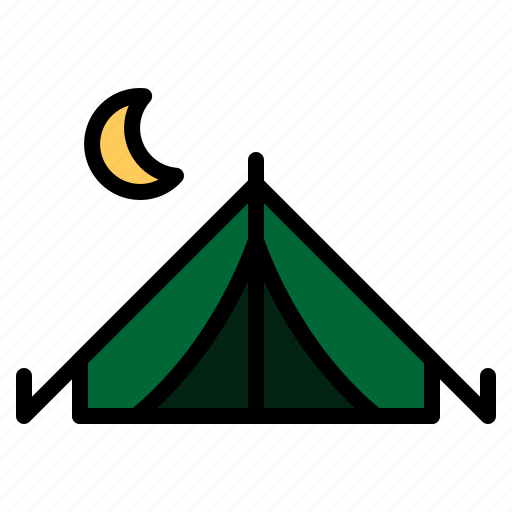adventure, camp, camping, night, outdoor, tent, vacation icon
