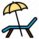 beach, chair, deck, summer, sunbath, umbrella, vacation icon