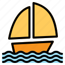 boat, sailing, schooner, sea, ship, summer, wind icon