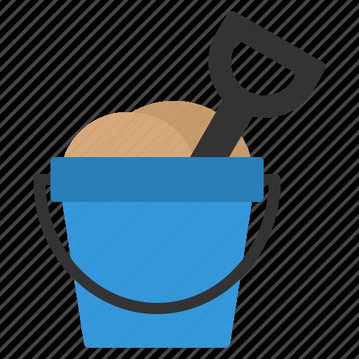 beach, bucket, child, playing, sand, shovel, summer icon