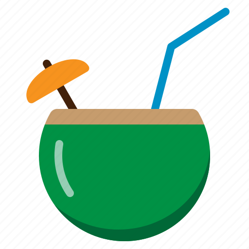 coconut, drink, fresh, fruit, natural, summer icon