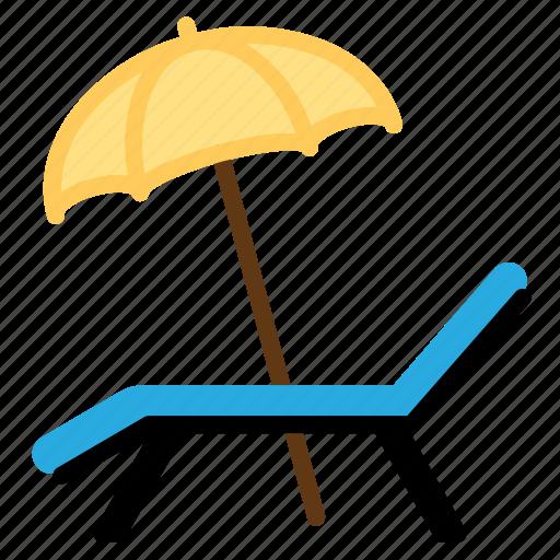 Beach, chair, deck, summer, sunbath, umbrella, vacation icon - Download on Iconfinder
