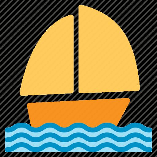boat, sailing, schooner, sea, ship, summer, wind icon