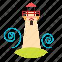 cape, lighthouse, sea, wave icon