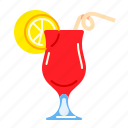 cocktail, drink, glass, red icon